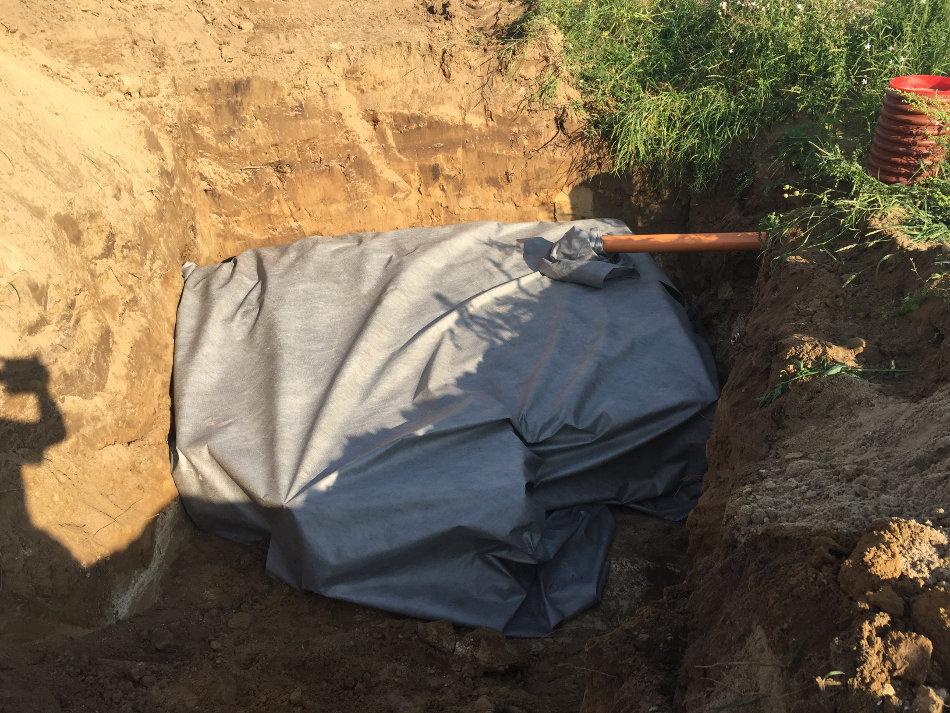 Faskine til tagvand, bioblokke pakket ind i geotekstil, klar til at blive dækket med jord