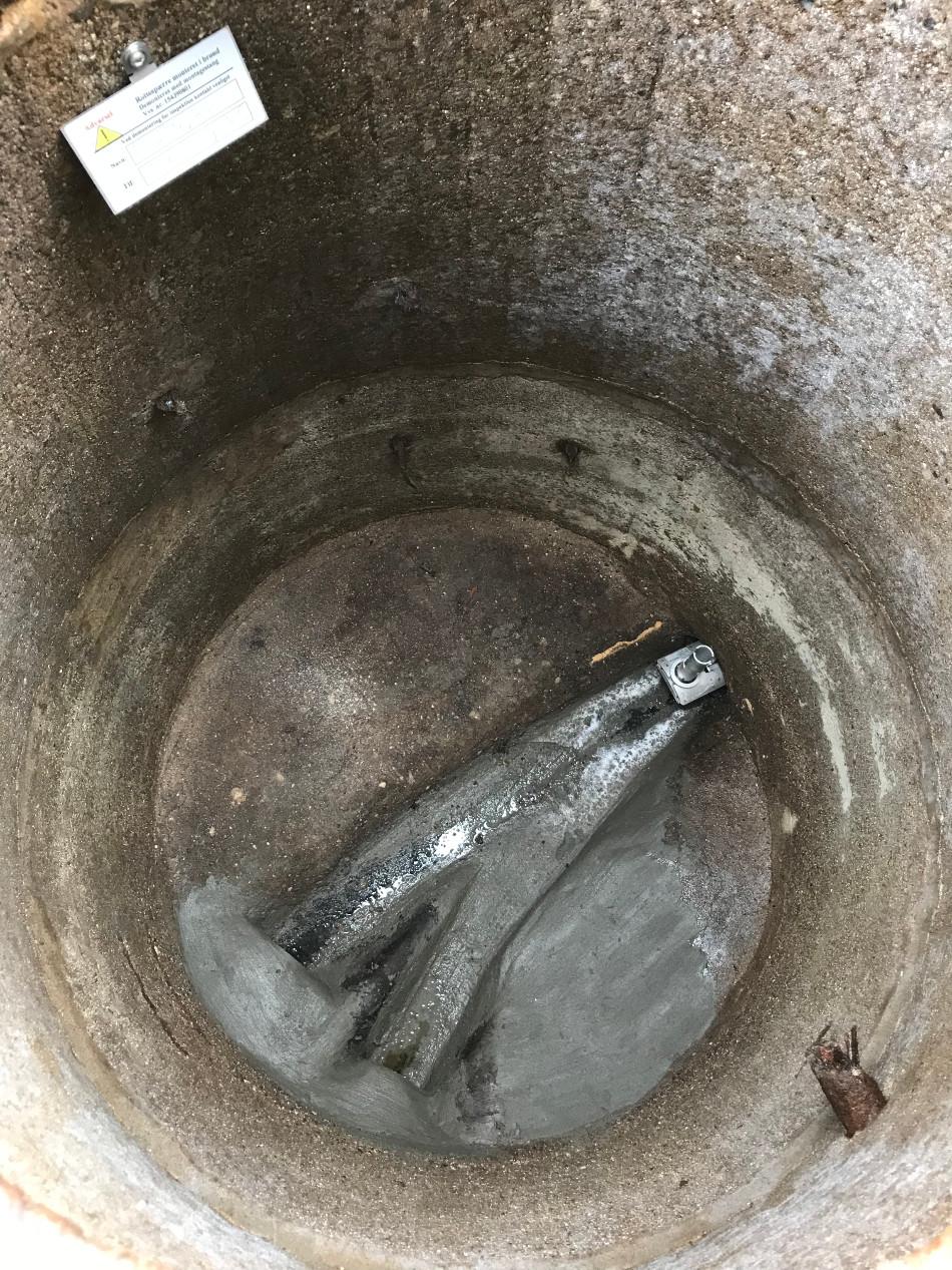 Rottespærre monteret i eftersynsbrønd